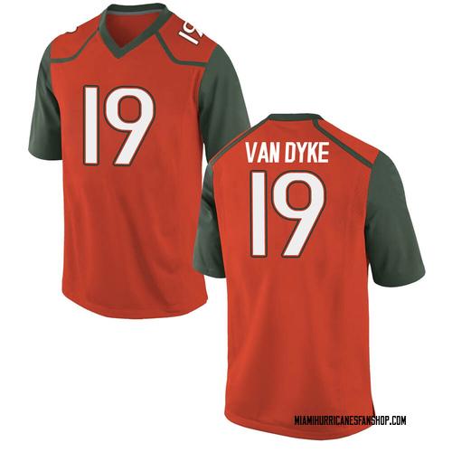 Youth Nike Tyler Van Dyke Miami Hurricanes Game Orange College Jersey