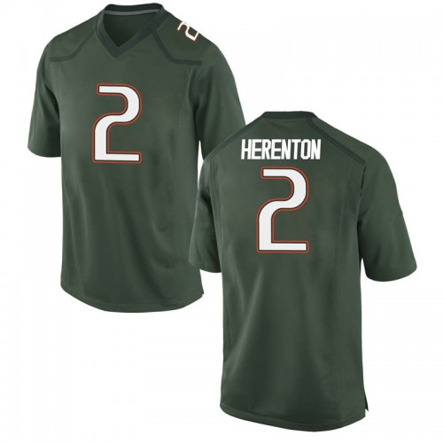 Youth Nike Willie Herenton Miami Hurricanes Game Green Alternate College Jersey
