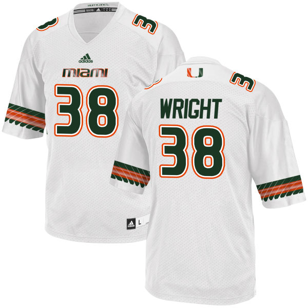Men's Cedrick Wright Miami Hurricanes Replica White adidas Jersey