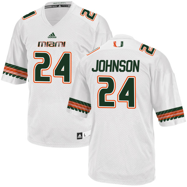 Men's Josh Johnson Miami Hurricanes Replica White adidas Jersey