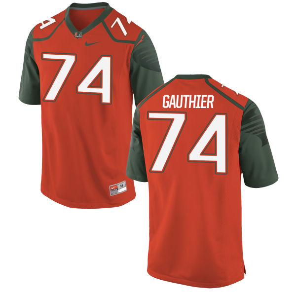 Men's Nike Tyler Gauthier Miami Hurricanes Replica Orange Football Jersey