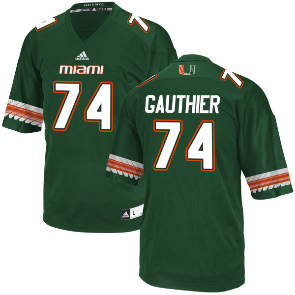 Men's Tyler Gauthier Miami Hurricanes Game Green adidas Jersey